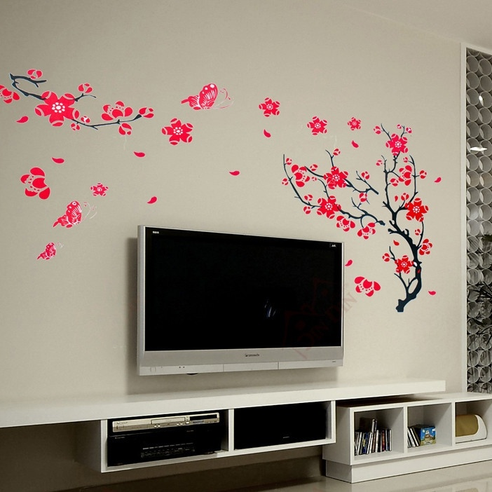 Creative Wall Sticker Plum Blossom Butterfly DIY Removable Wallpaper Floral Art Home Decoration Background ZQZ003