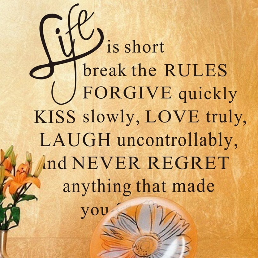 Life Is Short Break The Rules Quote Wall Sticker Vinyl