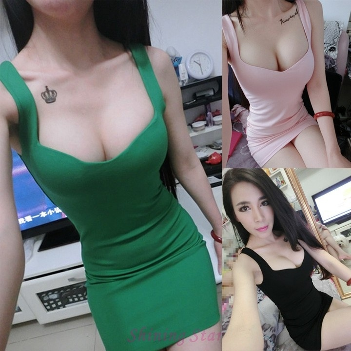 4dc970a51ed FREE SHIPPING. Women s Summer Sexy Sleeveless Low Cut Bodycon Mini Dress  One Size