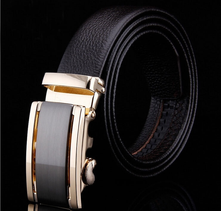 HOT Fashion MEN's Genuine Leather Waist Strap Belts Automatic Metal Buckle Gold Silver Split Cow Leather LuxuryCX015 Man's belt (Size: M, Color: Black)