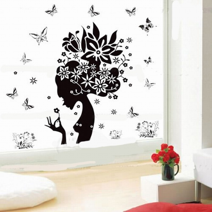 Fashion removable wall stickers sexy black girl home decor window covering flower butterfly for Stickers para dormitorios