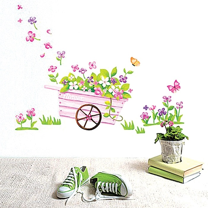Fashion Wall Stickers Bicycle Flower Bedroom Decorative Wall Stickers Home  Decor Living Kids Girls Room Vinyl