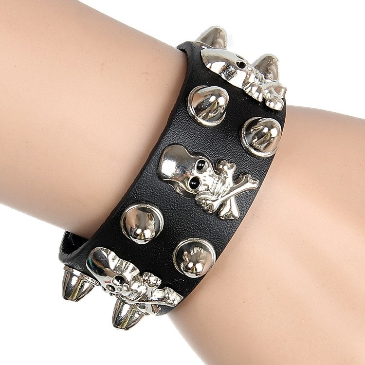 Popular leather cuff bracelet Non-mainstream punk exaggerated pirate skull rivet leather bracelet bangle #mgsu.inc.#