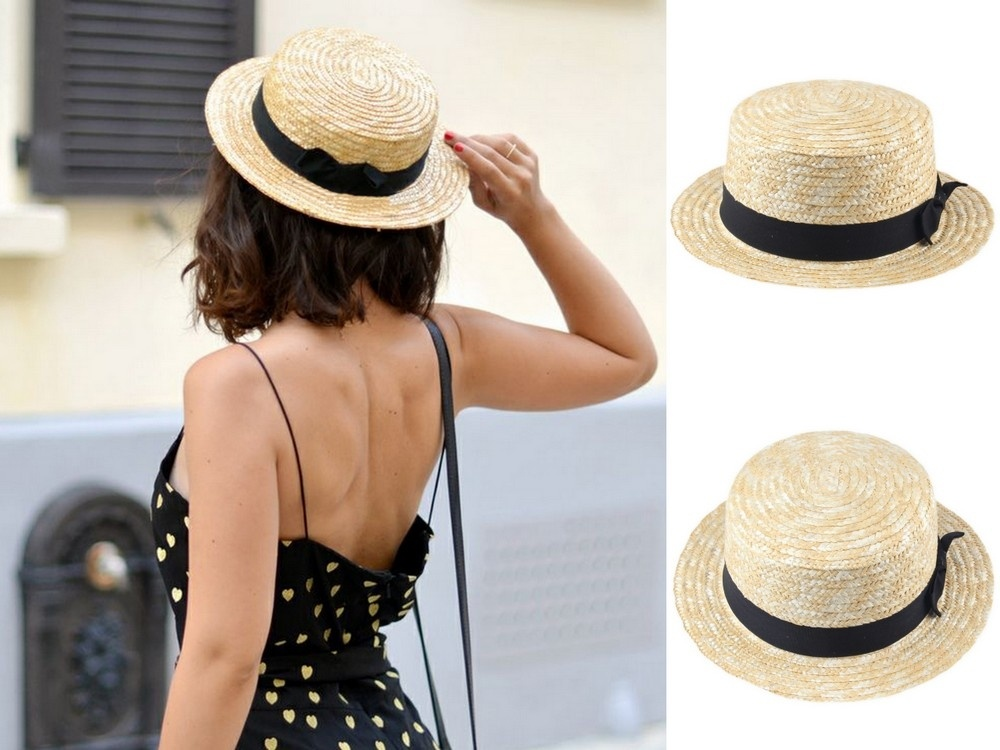 Beige Men / Women Lady Boater Summer Beach Ribbon Bowknot Round Flat Crown Straw Fedora Panama Hat (Size: 58 cm, Color: Beige)