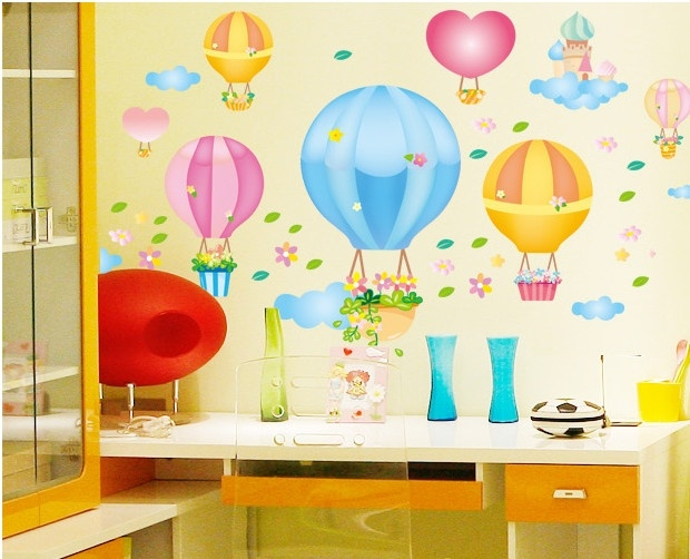 Lovely Fire Balloon Wall Sticker Decorative Cartoon Personalised ...