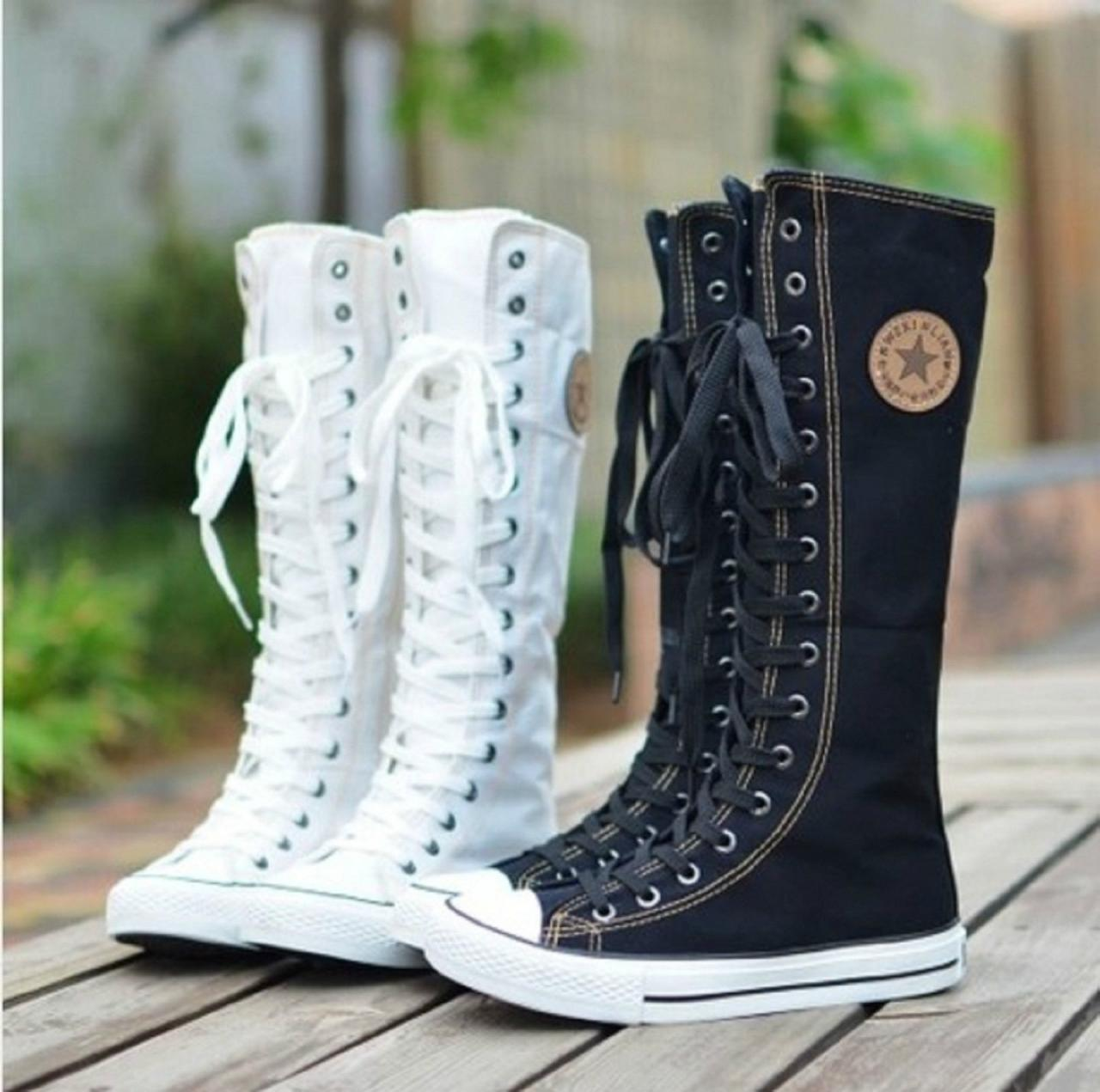 3a802c04ab89c8 PUNK ROCK Canvas Boot Women Gril Sneaker Flat Tall Lace Up Knee High Zip  Shoes on Luulla