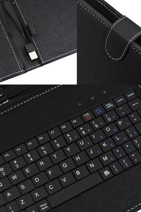 8' Black Keyboard case with standard USB port cover for 8 inch tablet pc eBook readers (Color: Black)
