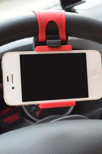 2015 Quality NEW Rubber Band Car Steering Wheel Mount Holder For iPhone 5S 5G 5C 4S 4 iPod