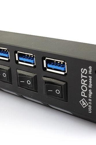Hi-Speed 3.0 USB 4 Ports External HUB with On/Off Switch For Laptop PC 5Gb/S-Black (Color: Black)