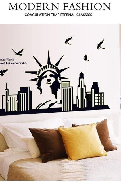 Luminous New York City Statue of Liberty Wall Decal Sticker Home Decor Wallpaper