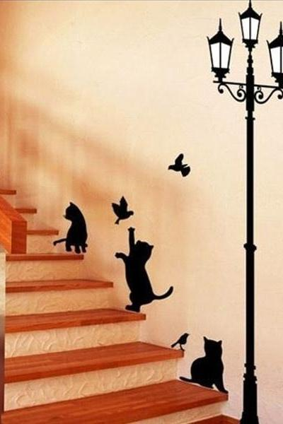 1PC Top Sales!Lamp Cats and Birds DIY Wall Sticker Wall Mural Home Decor Kids Room Decoration