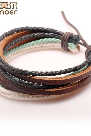 Wrap Braided Bracelet Hemp Rope and Cow Leather for Men and Women Fashion Man Jewelry (Size: 26 cm, Color: Multicolor)