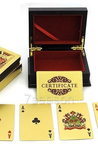 New 24K Karat Gold Foil Plated EUR Poker Playing Card With Wood Box