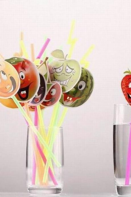 12pc/bag Cartoon Fruit Pattern Straws Plastic Flexible Drinking Pipette For Kids Birthday Party 78800-fruit