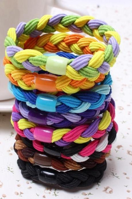 10PCS Random Color Rope Ties Women Elastic Band Hair Ponytail Holder Ring