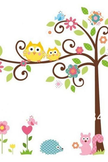 removable nursery children's room cartoon waterproof wall sticker owl tree decal wall home decor