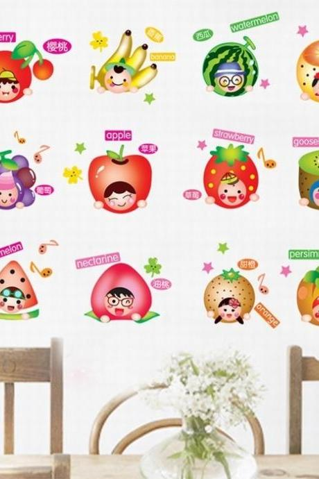 Fashion Cute Cartoon wall sticker Fruit Smile Removable wall vinyl Home Decor Kids Child Baby Room Kitchen Fridge diy casual Wall Poster Stickers Decal green red purple Wallpaper