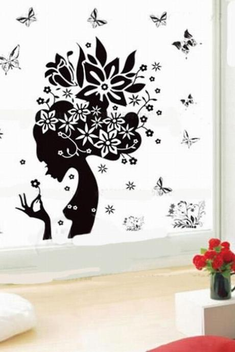 Fashion removable wall stickers sexy black girl home decor window covering flower butterfly poster Removable wall vinyl art mural family decoration romantic poster Wallpaper size 50cm x70cm(L*W)