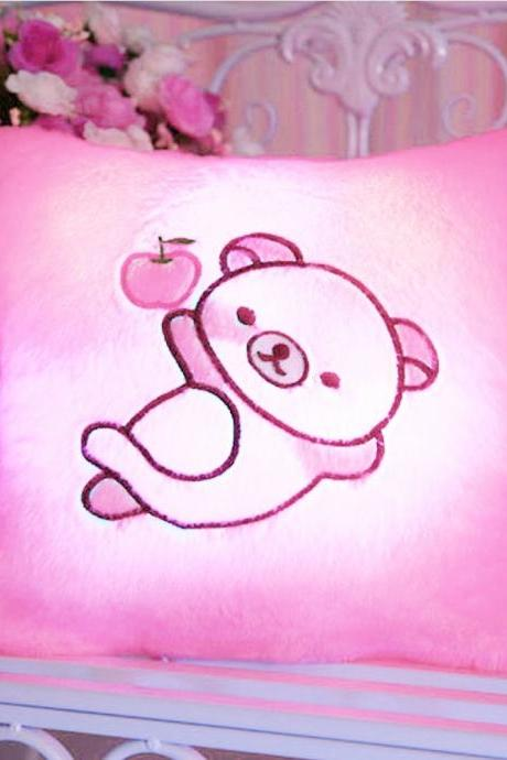 Colorful Pig Glow LED Luminous Pillow (Color: Pink)