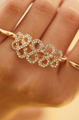 Fashion Diamond 8 Digital Two Fingers Ring (Color: Gold)
