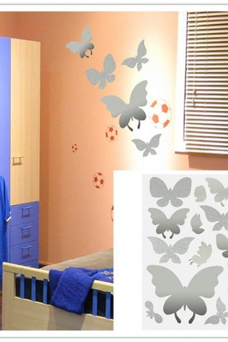Home Decoration 14Pcs Crystal Butterfly Wall Removable Art Stickers DIY Room Decal (Size: 45cm by 30cm, Color: Silver)