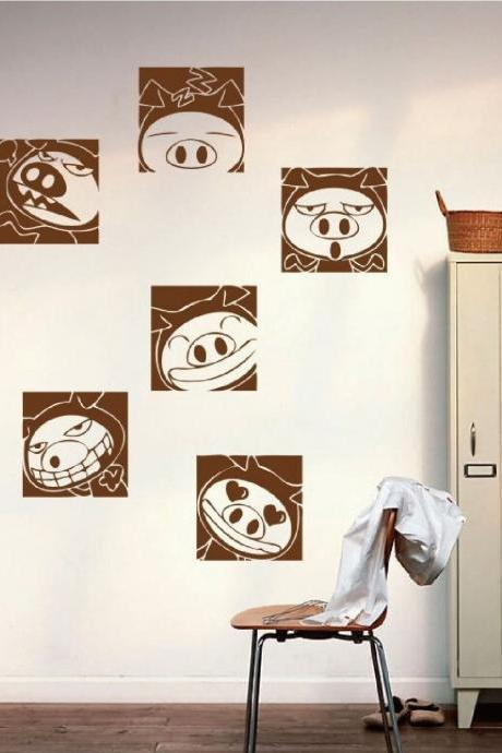 Removable Cute Pig expression Wall Stickers Nursery Kids Baby Bedroom Art Decal Decor