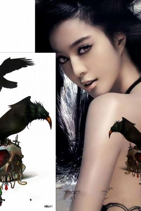 Eagle on shull temporary tattoo sticker for men women waterproof tattoo paper transfer fake tattoo for party photo body makeup
