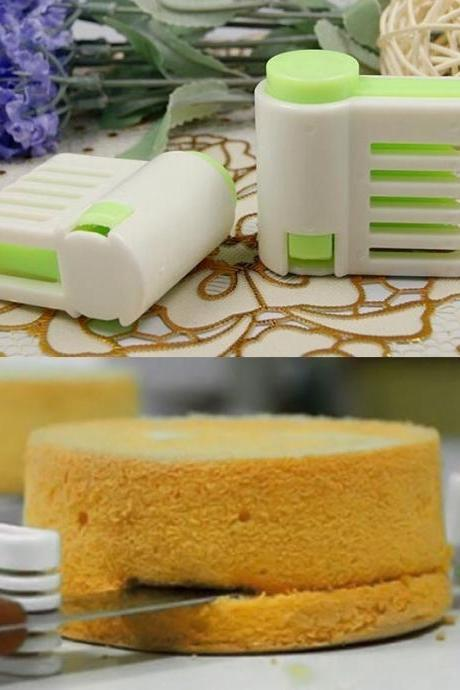 5 Layers Kitchen DIY Cake Bread Cutter Leveler Slicer Cutting Fixator Tools (Color: Green)