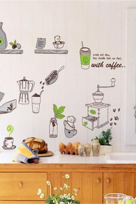 stickers on a wall for kitchen home decor decal spoon coffee cup kettle mural wall paper pattern decoration