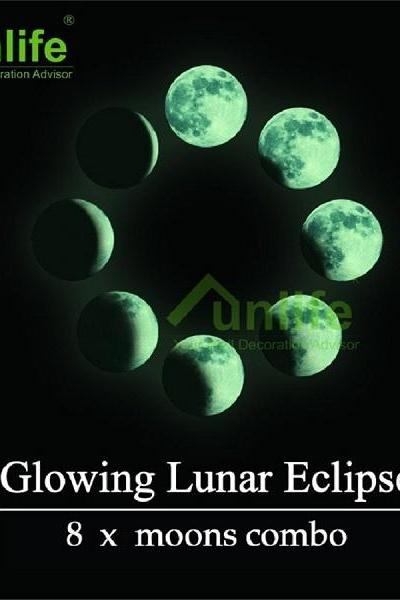 1set=8pcs Big Combo Lunar Eclipse Glowing Moons Decal Luminous Wall Stickers Baby Children Nursery Room Decor