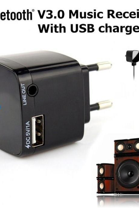 3.5mm Bluetooth 3.0 Audio Music Receiver Adapter Dongle With USB Wall Charger