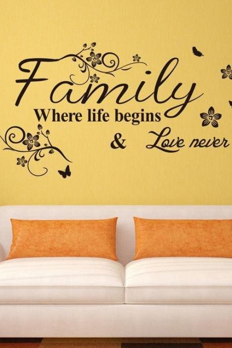 Family Fashion Creativity Wall Stickers Home Decor DIY Removable Art Vinyl Wall Sticker Decals Mural Home decoration75*34CM