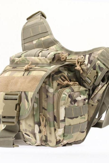 Tactical Oxford Waterproof Backpack Outdoor Hiking Camping Pouch Waist Bag CP Camouflage