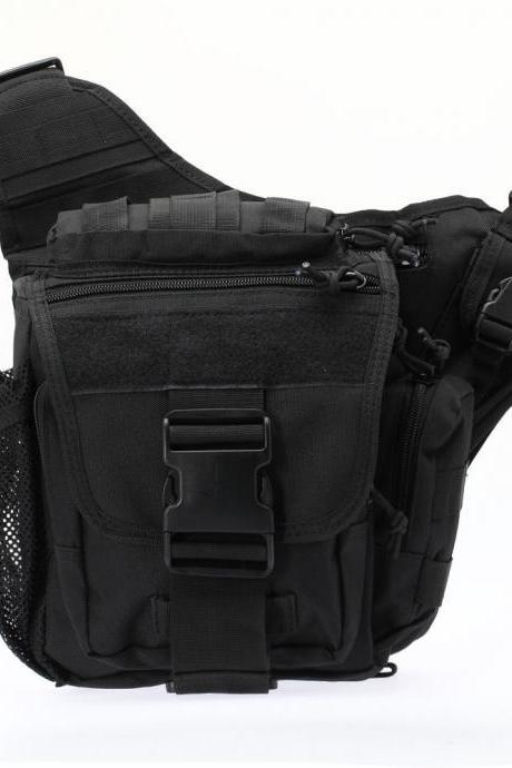 Tactical Oxford Waterproof Backpack Outdoor Hiking Camping Pouch Waist Bag Black