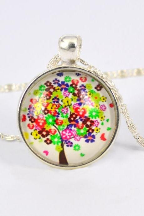 Fashion Jewelry Choker Necklace Glass Galaxy Pendant Silver Chain Tree Necklace & Pendant (Color: Silver)