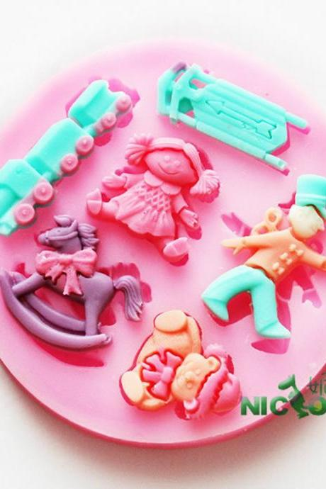 3D Baby Girl Toys Fondant Cake Cookie Chocolate Soap Mold Cutter Modelling Tools cupcake DIY bakware Decorating Model Tool (Color: Multicolor)