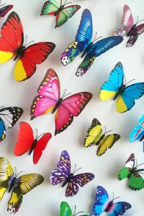 3D Butterfly Wall Stickers Home Decor Room Decoration 3D butterflies wall decal stickers 12pcs/set