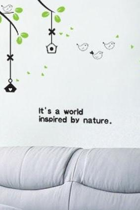 Fashion spring summer Wall sticker Cartoon Birds Singing Wall Decal Baby Kids Nursery room Art mural decal diy home decor kindergarten wall paper green leaves poster size 50cm x70cm(L*W)