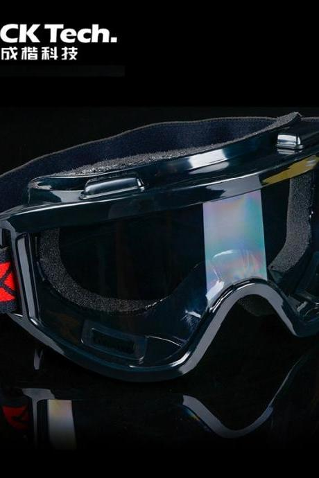 The soft sponge goggles protective glasses, protective goggles windproof impact sand dust protective mirror (Color: Black)