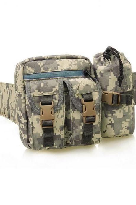 Tactical Waist Pack Sports Camping Hiking Outdoor Shoulder Bag with Bottle Holster ACU Camo