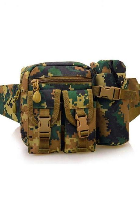 Tactical Waist Pack Sports Camping Hiking Outdoor Shoulder Bag with Bottle Holster Digital Camo