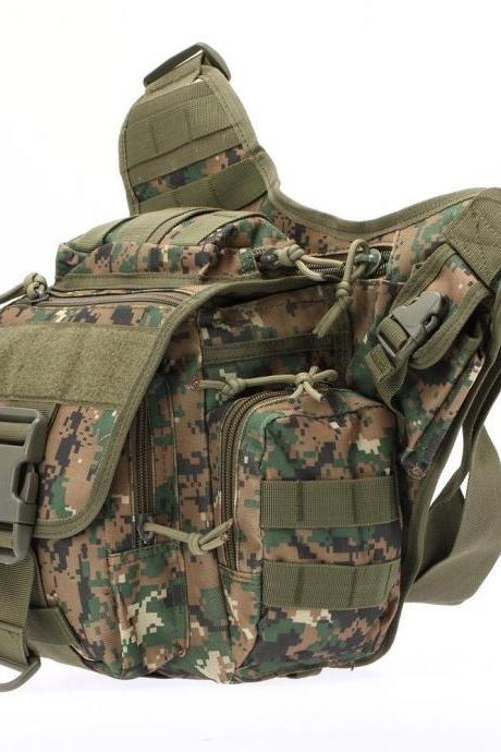 Tactical Oxford Waterproof Backpack Outdoor Hiking Camping Pouch Waist Bag Jungle Digital Camoufage