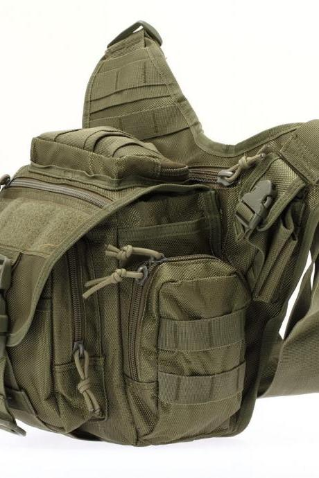 Tactical Oxford Waterproof Backpack Outdoor Hiking Camping Pouch Waist Bag Army Green