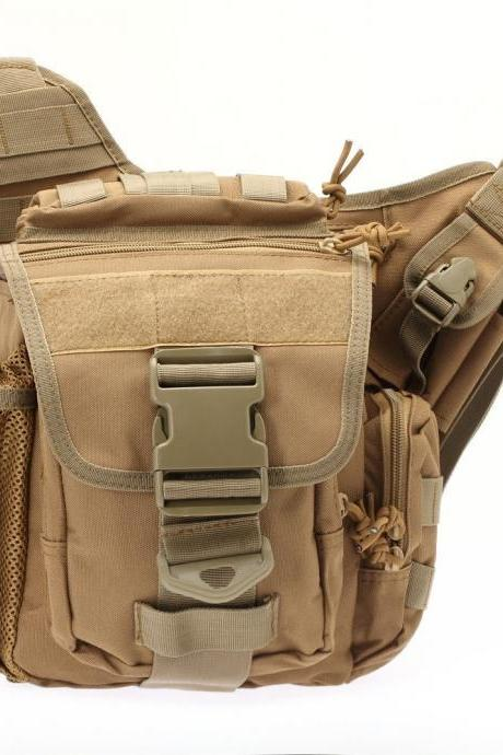 Tactical Oxford Waterproof Backpack Outdoor Hiking Camping Pouch Waist Bag Tan