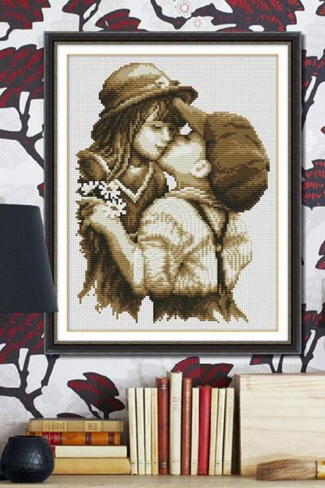 DIY Embroidery Kit Precise Printed Pure Kiss Design Handmade Needlework Cross Stitch Set Cross-Stitching Home Decoration