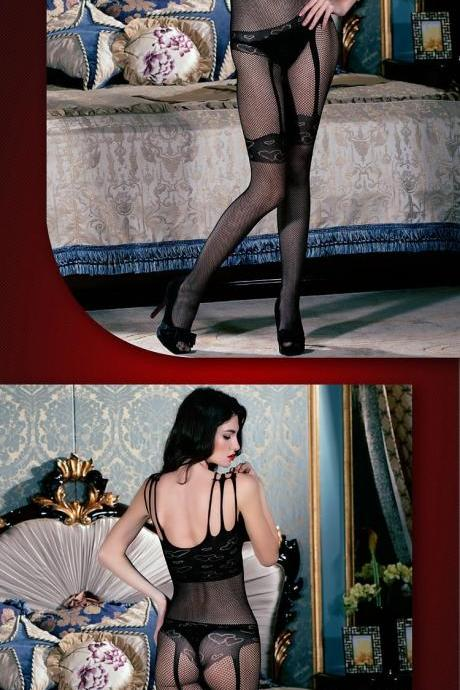 Temptation Sexy Jacquard Mesh Stockings Strap Jumpsuits (Color: Black)