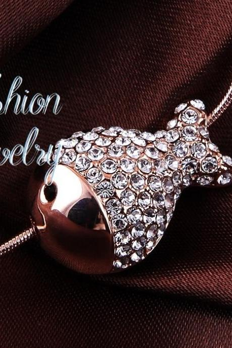 Top Quality Fashion Lovely Fish Clear Necklace / Pendant 18K Rose Gold Plated with Austrian Crystal