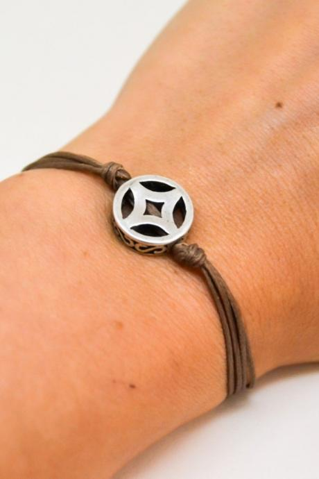 Brown bracelet, cord bracelet with decorated silver circle bead charm, dainty bracelet, rhombus, gift for her, minimalist jewelry, silver