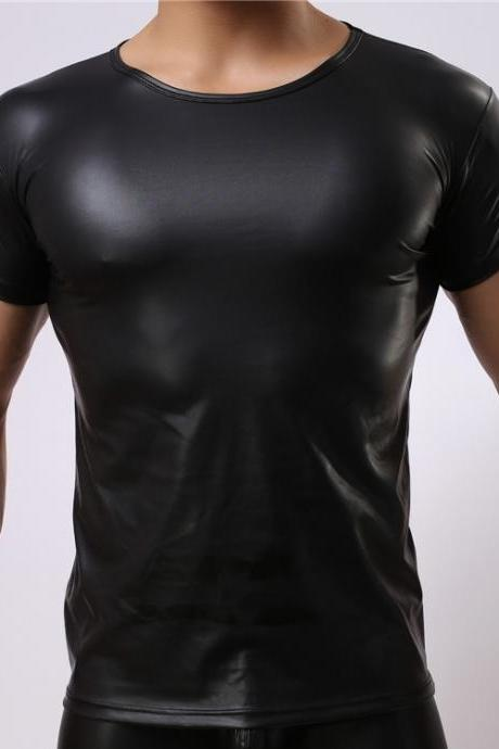 Latest Men's Black Short Sleeve Tight Sports T-Shirt,Sexy Faux Leather Men's Tops with High Quality! JP0527