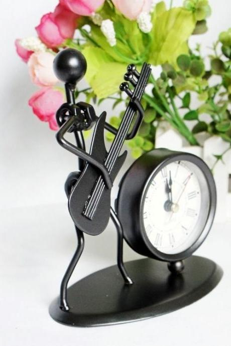 Exquisite Metal Alarm Clock with the Figure of a Musician Who is Playing the Guitar as Gift (Color: Black)